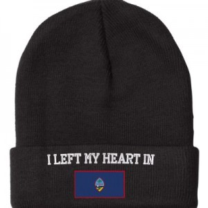 Fastasticdeal-Left-Heart-Guam-Flag-Embroidered-Beanie-Cap-0